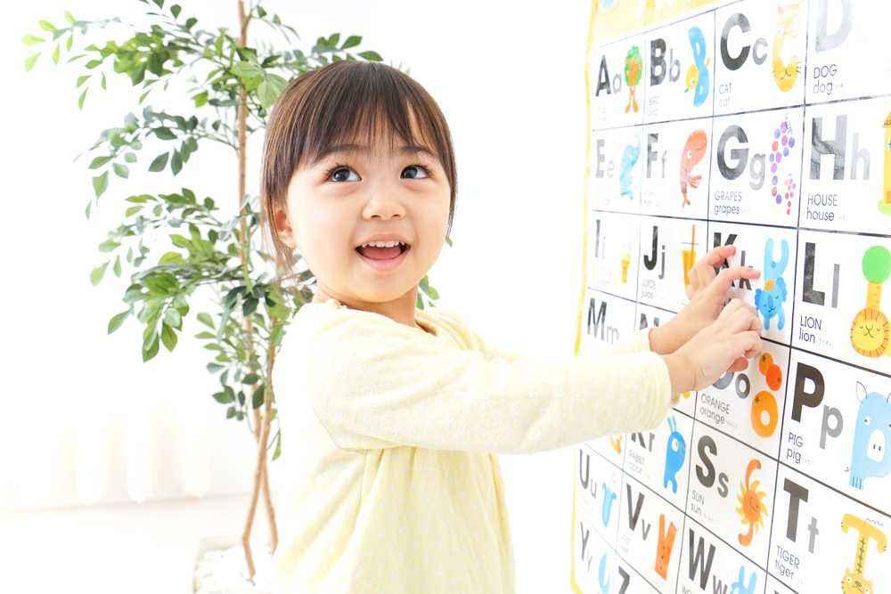 Menempel Huruf Alfabet di Dinding