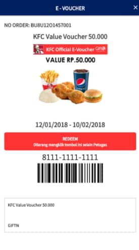 Screenshot redeem voucher KFC